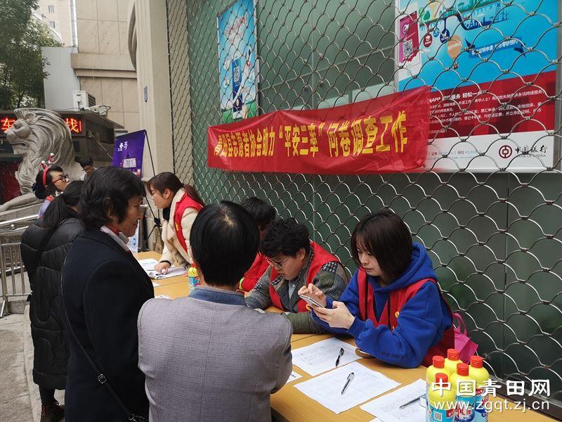 """团县委联合鹤城街道开展""""平安三率""""问卷调查工作"""